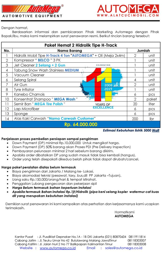 Paket-Hemat-2-Hidrolik-Lift-Cuci-Mobil-tipe-H-Track