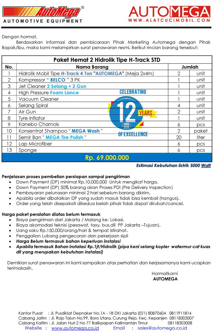 STD-Paket-Hemat-2-Hidrolik-Lift-Cuci-Mobil-tipe-H-Track