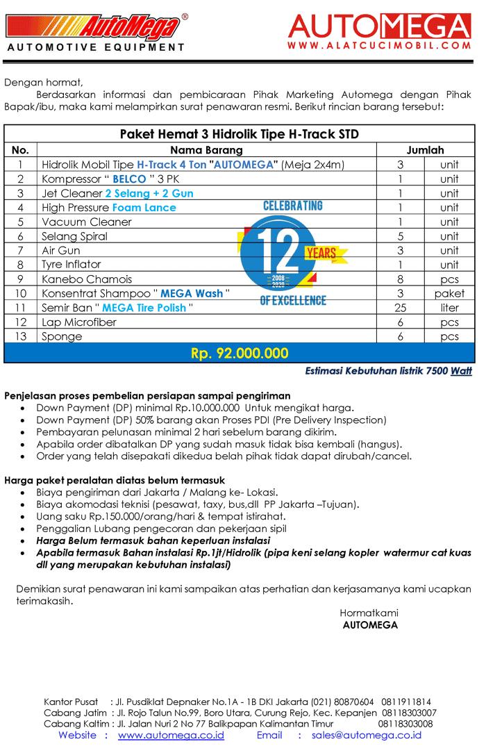 STD-Paket-Hemat-3-Hidrolik-Lift-Cuci-Mobil-tipe-H-Track