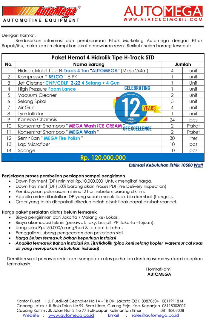 STD-Paket-Hemat-4-Hidrolik-Lift-Cuci-Mobil-tipe-H-Track