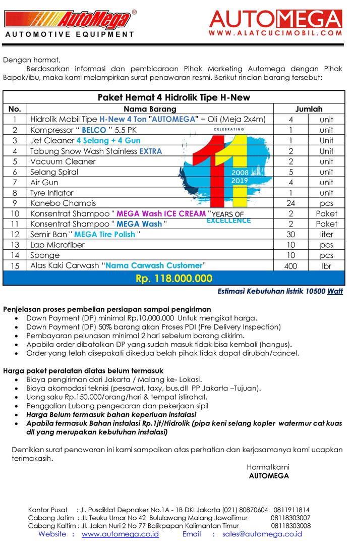 Paket-Hemat-4-Hidrolik-Lift-Cuci-Mobil-tipe-H-New