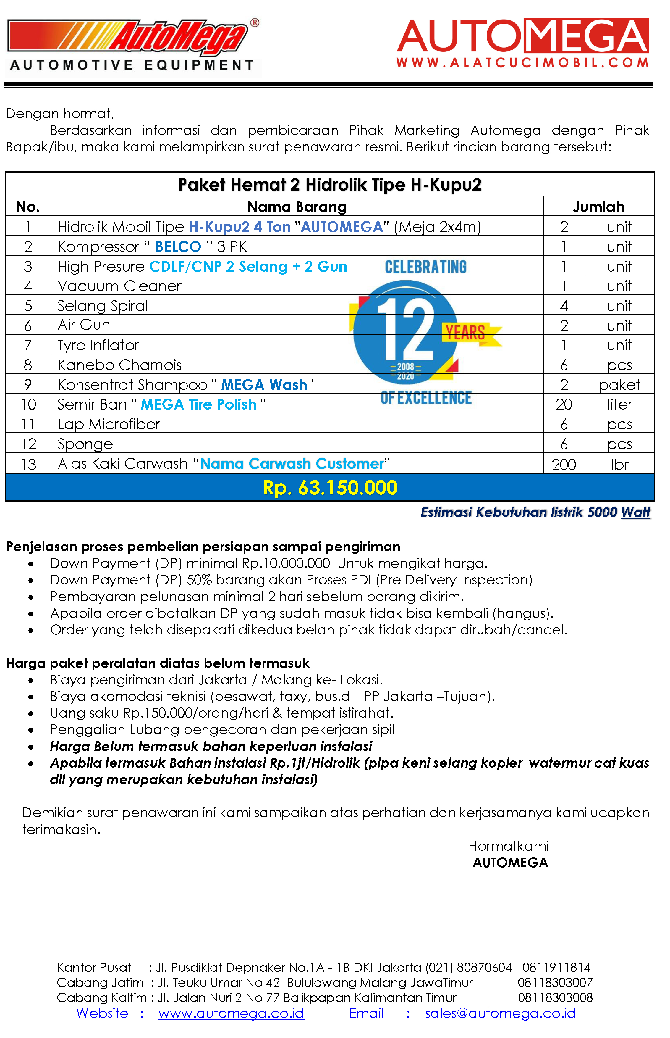 Paket Hemat 2 Hidrolik Lift Cuci Mobil tipe H-Kupu2